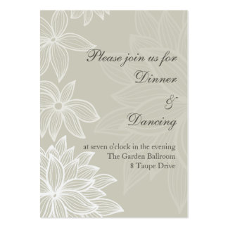Contoured Bloom Taupe Reception Card Large Business Cards (Pack Of 100)