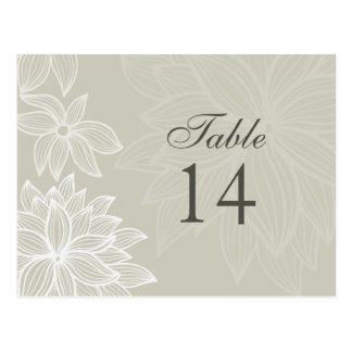 Contoured Bloom Taupe Table Number Card