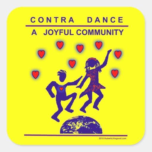Contra alegría de la danza calcomanía cuadradas