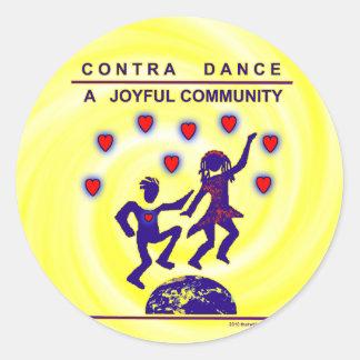 Contra alegría de la danza etiquetas redondas