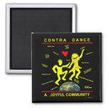 Contra Dance Joy 2 Inch Square Magnet