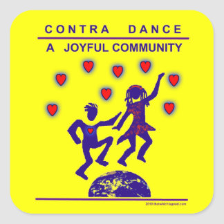 Contra Dance Joy Square Sticker