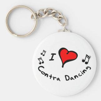Contra Dancing I Heart-Love Keychain