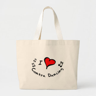 Contra Dancing I Heart-Love Large Tote Bag