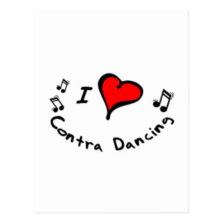 Contra Dancing I Heart-Love Postcard