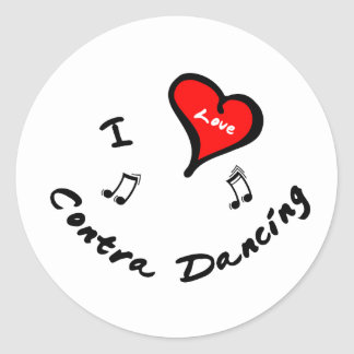 Contra Dancing Items - I Heart Contra Dancing Classic Round Sticker