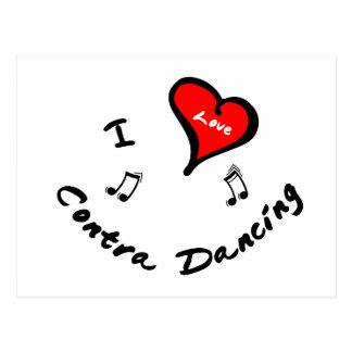 Contra Dancing Items - I Heart Contra Dancing Postcard