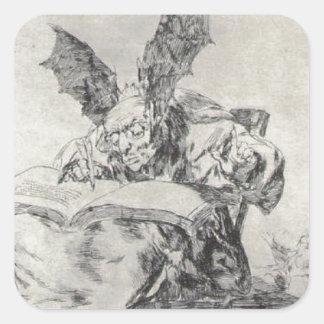 Contra el bien común de Francisco Goya Pegatina Cuadrada