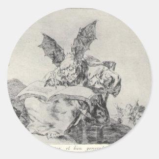 Contra el bien común de Francisco Goya Pegatina Redonda