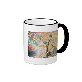 Contra el esmalte de un fondo rítmico tazas de café