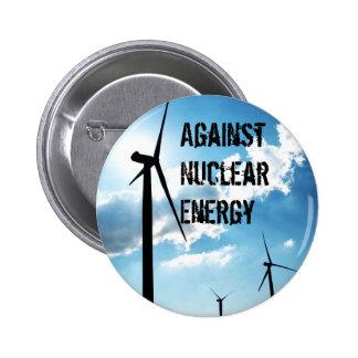 Contra energía nuclear pin redondo de 2 pulgadas
