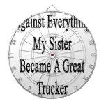 Contra todo mi hermana hizo un gran Trucke Tabla Dardos