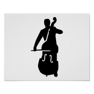 Contrabass player poster