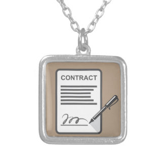 Contract Icon Square Pendant Necklace