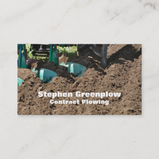 Contract ploughing plow close-up business card