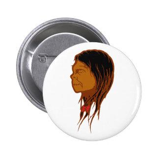 Contraction head shrunken head pinback buttons
