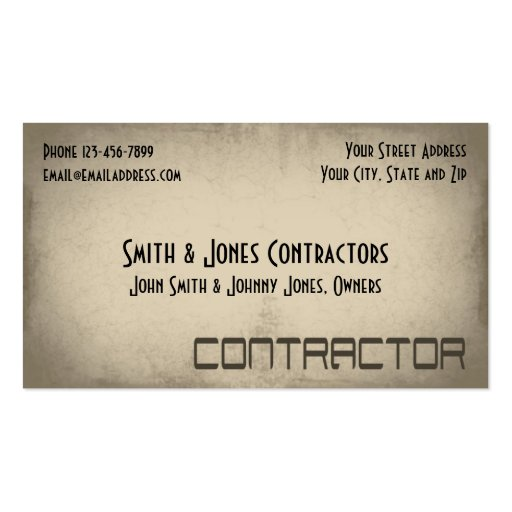 Contractor Construction Business Card