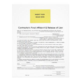 Contractor Final Affidavit & Release of Lien Form Letterhead