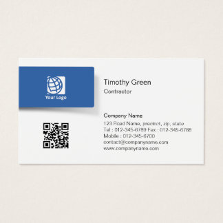 Contractor Professional Trade Skills Blue Tab Logo Business Card