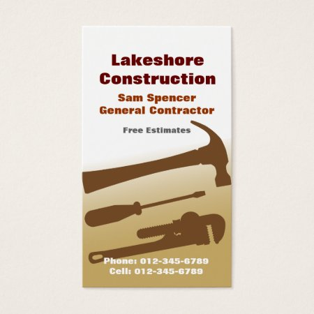 Hammer, Screw Driver and Plumber's Pipe Wrench General Contractor Business Cards Template