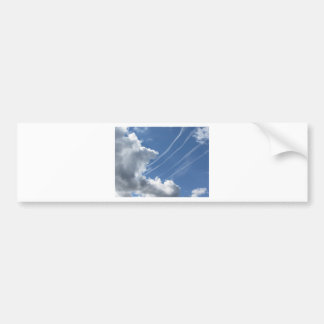Contrails of aircraft and clouds in the sky bumper sticker