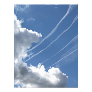 Contrails of aircraft and clouds in the sky letterhead