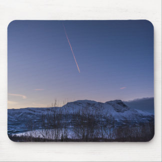 Contrails over Narvik in Winter Mousepad