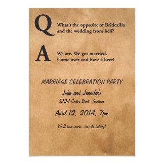 """Contrario del fiesta de la boda de Bridezilla Invitación 5"""" X 7"""""""