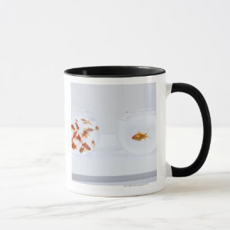 Contrast of  many goldfish in fishbowl and mug