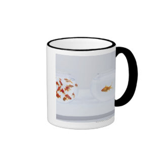 Contrast of  many goldfish in fishbowl and coffee mug