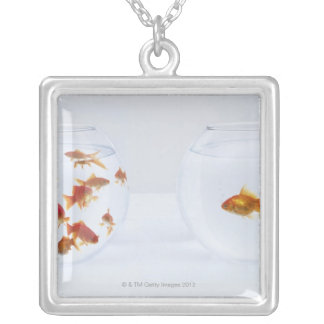 Contrast of  many goldfish in fishbowl and custom necklace