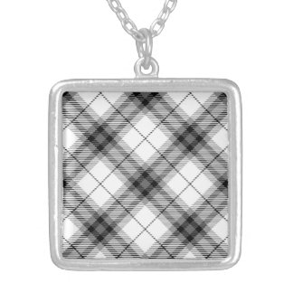Contrast Plaid Silver Plated Necklace