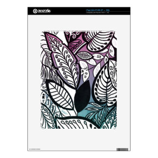 Contrast Sketch Tropical Floral Pink Turquoise Decal For iPad