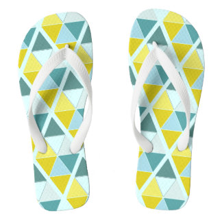 Contrast Triangles on Light Blue Flip Flops