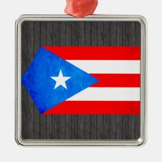 Contraste colorido Puerto RicanFlag Adorno Cuadrado Plateado