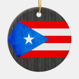 Contraste colorido Puerto RicanFlag Adorno Redondo De Cerámica