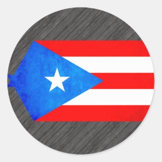 Contraste colorido Puerto RicanFlag Pegatina Redonda