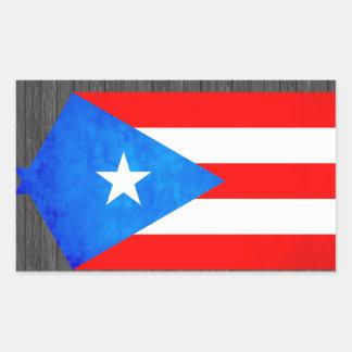 Contraste colorido Puerto RicanFlag Pegatina Rectangular