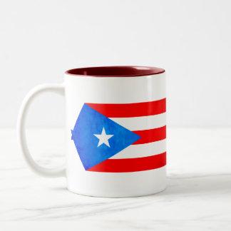 Contraste colorido Puerto RicanFlag Taza Dos Tonos