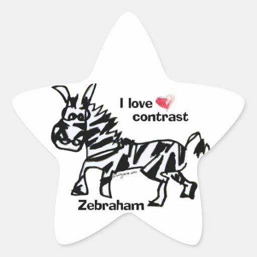 Contraste del amor de Zebraham- I Pegatina En Forma De Estrella