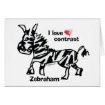 Contraste del amor de Zebraham- I Tarjeta De Felicitación