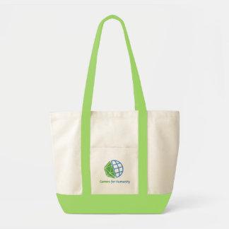 Contraste del bolso de GfH, verde y natural Bolsas Lienzo