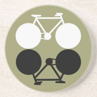 contrasting bicycles graphic beverage coasters