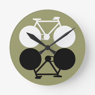contrasting bicycles graphic round clock