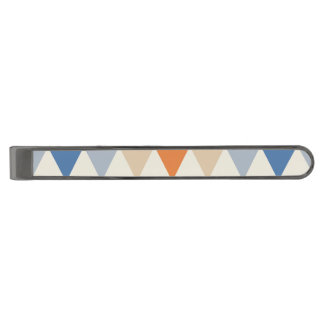 Contrasting Blue Orange And White Triangle Pattern Gunmetal Finish Tie Bar