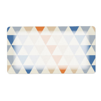 Contrasting Blue Orange And White Triangle Pattern Label
