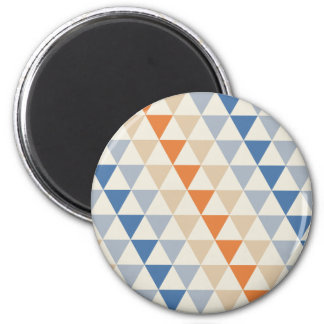 Contrasting Blue Orange And White Triangle Pattern 2 Inch Round Magnet