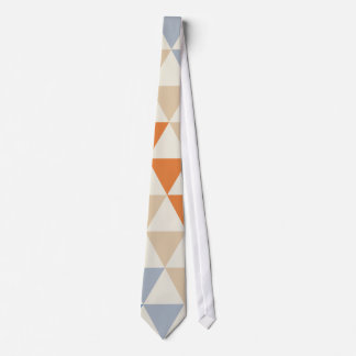 Contrasting Blue Orange And White Triangle Pattern Neck Tie