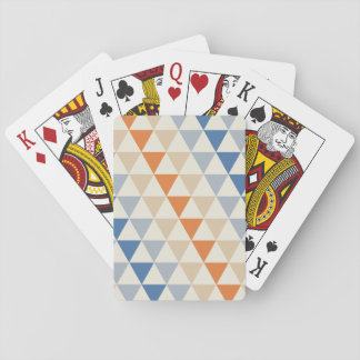 Contrasting Blue Orange And White Triangle Pattern Playing Cards
