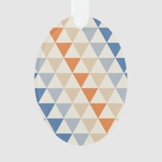 Contrasting Blue Orange And White Triangle Pattern Ornament